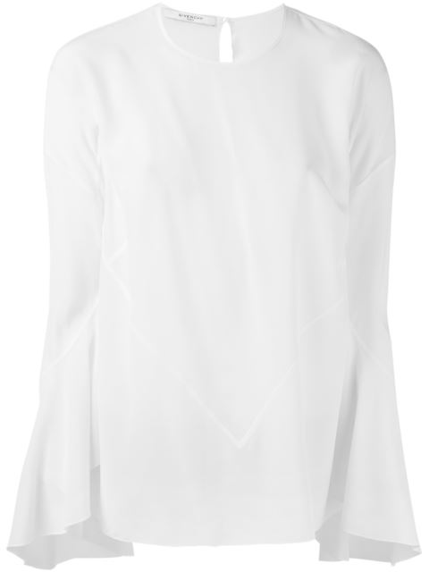 Givenchy Silk Crepe De Chine Flared Sleeve Blouse In White