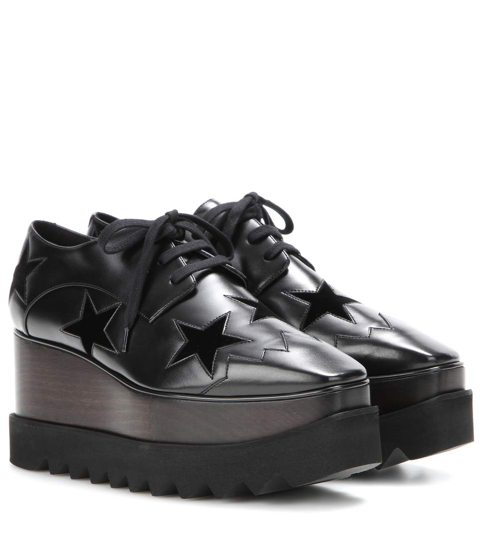 info pour 07cab 66933 Elyse Stars Faux-Leather Flatform Brogues in Black