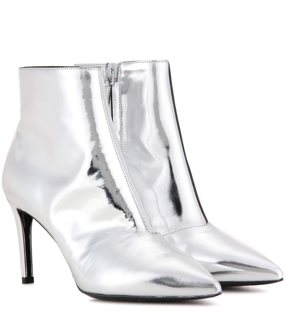 4ef453117895 Balenciaga Metallic Leather Ankle Boots In Argeet