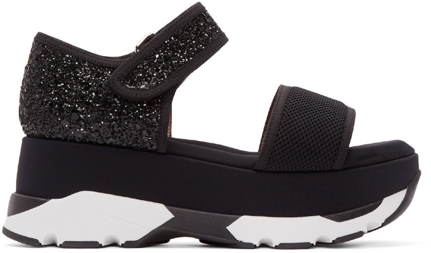 Marni 60mm Mesh & Glitter Platform Sandals, Black In Coal