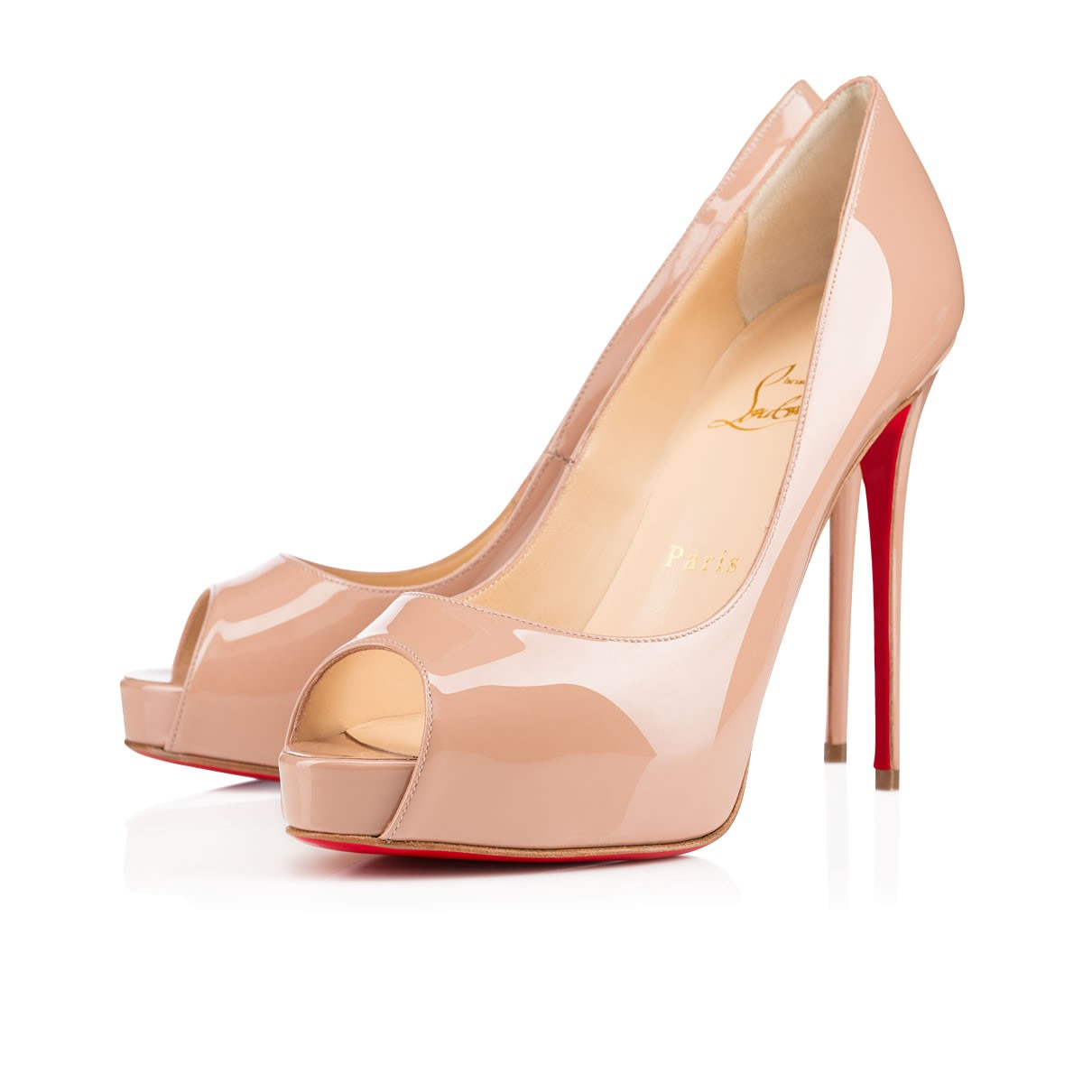 701f77185387 Christian Louboutin New Very Prive 120 Patent Leather Peep Toe Pumps In Nude