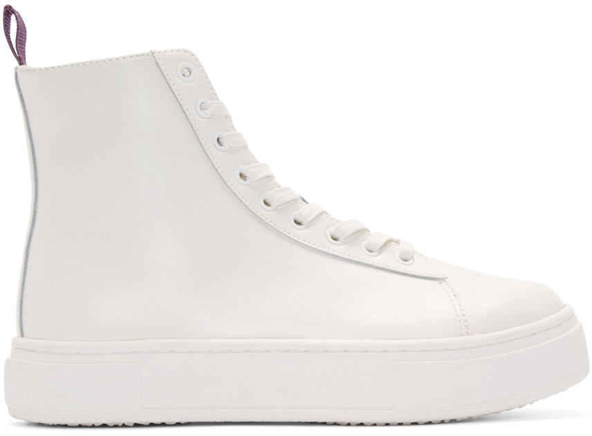 Eytys Kibo Polished Leather High Top Sneakers, White