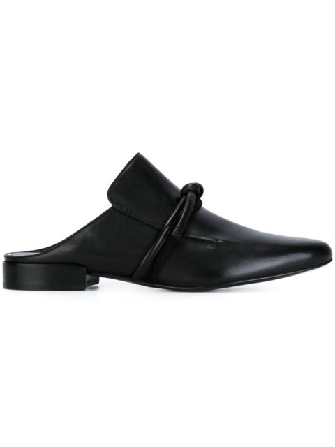 3.1 Phillip Lim Louie Suede-trimmed Leather Slippers In Black