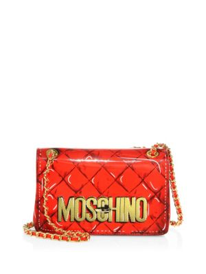 62e4ac69309 Moschino Fantasy Large Printed Patent Leather Crossbody Bag In Red ...
