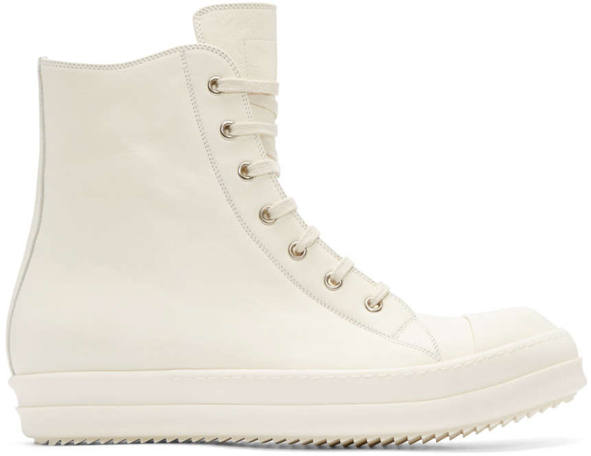 Rick Owens Off-white Leather High-top Sneakers In 111 White
