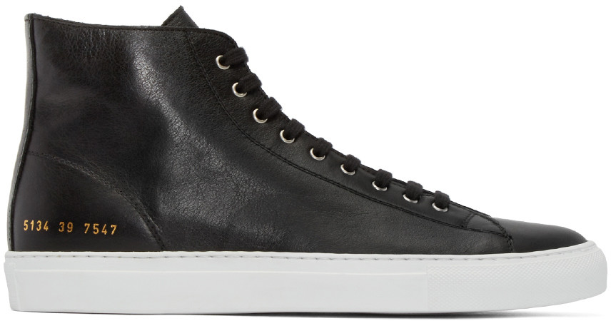 Common Projects Tournament Waxed-suede High-top Sneakers In Black
