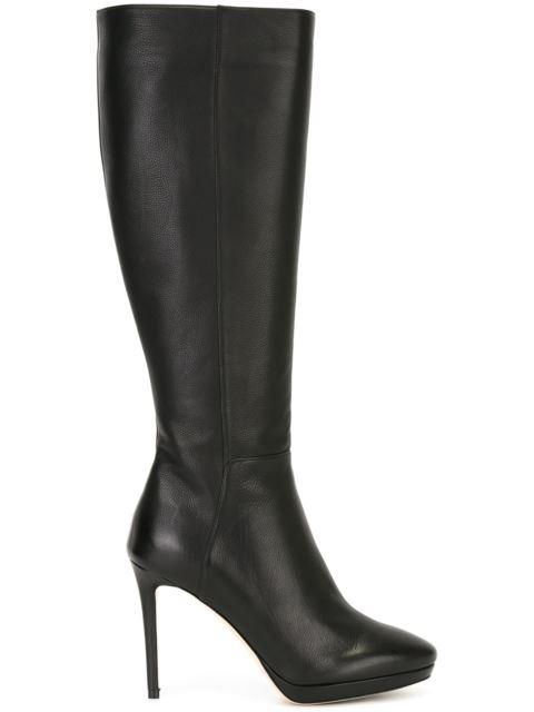 24831e2c6a3b Jimmy Choo Hoxton 100 Black Grainy Calf Leather Knee High Boots ...
