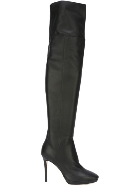 8dab22ae660c59 Jimmy Choo Hayley 100 Black Grainy Calf Leather Over-The-Knee Boots ...