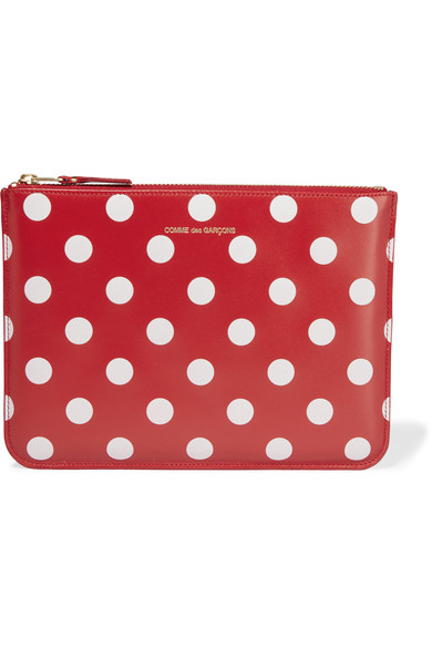 Comme Des GarÇons Polka-dot Leather Pouch In Red