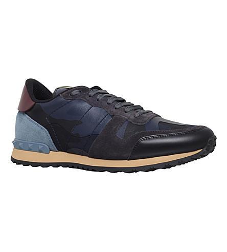 Valentino Men's Rockrunner Camo-Print Sneakers, Blue, Blue Camo