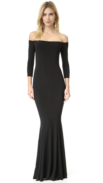 71f367ad7b Norma Kamali Off-The-Shoulder 3 4 Sleeves Fishtail Evening Gown In Black