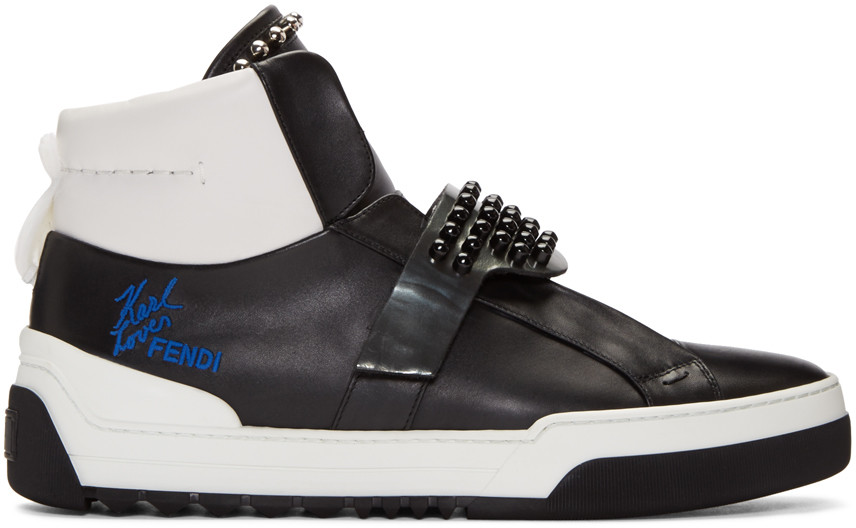 Fendi Karlito Studded High-top Calf Leather Sneakers In Black