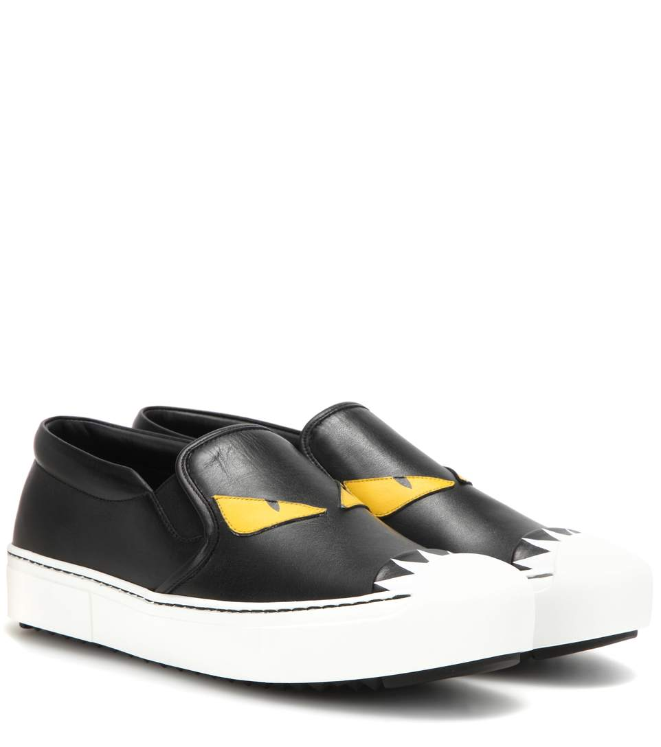 5e4e3ff09d Leather Slip-On Sneakers in Black