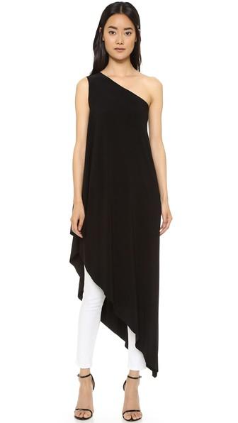 2866b8380fadd Norma Kamali Kamali Kulture One Shoulder Diagonal Tunic In Black ...