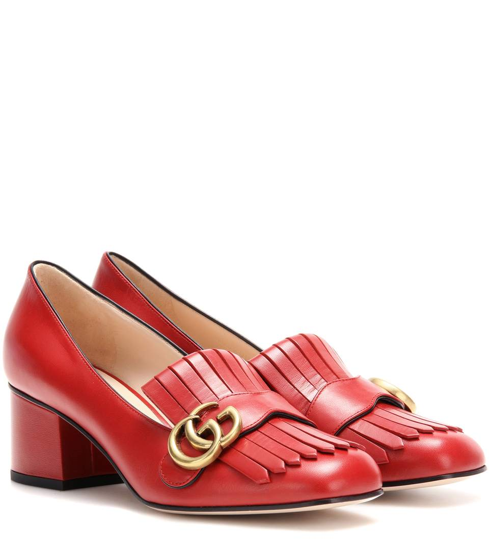 Gucci Marmont Patent Leather Mid-Heel Pump In Red