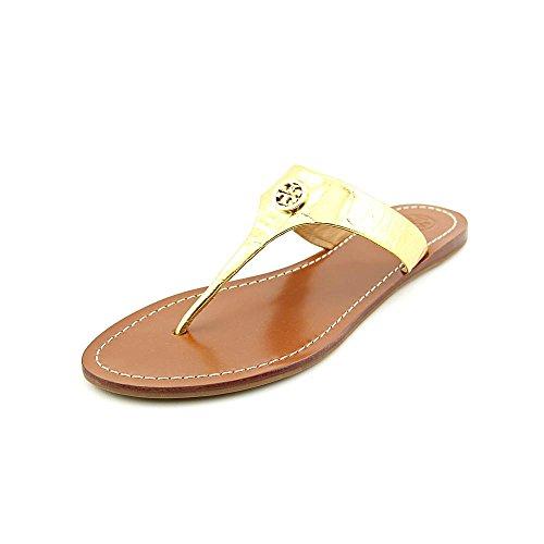 976376033 Tory Burch Cameron Women Open Toe Leather Gold Thong Sandal In Metallic Gold