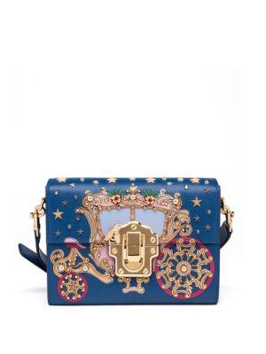 Dolce   Gabbana Lucia Embellished AppliquÉD Lizard-Effect Leather Shoulder  Bag In Blue-Multi c85dff69cb
