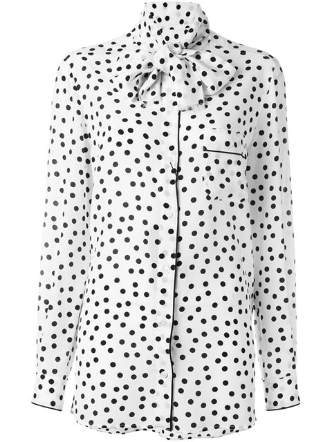 397ee302 Dolce & Gabbana Pussy-Bow Polka-Dot Silk Crepe De Chine Blouse In X0802