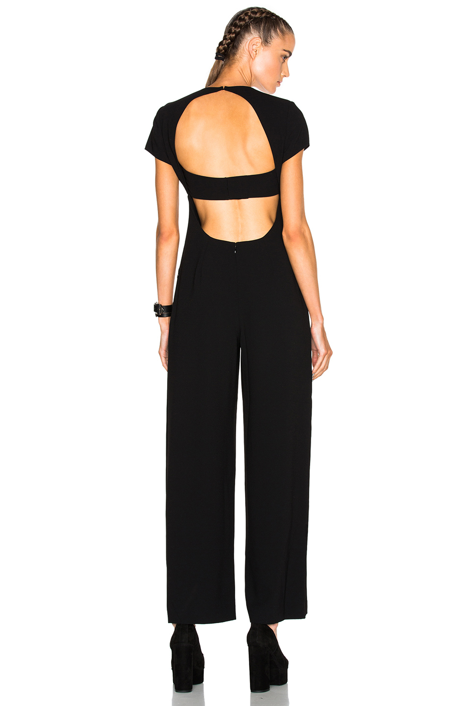T By Alexander Wang Stretch Poly Twill V-neck Gaucho Jumpsuit In Black