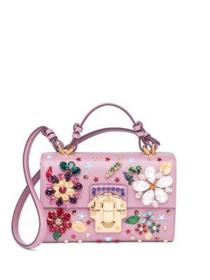 773c49560bf60a Dolce   Gabbana Floral-Embellished Mini Flap Leather Shoulder Bag In Pink