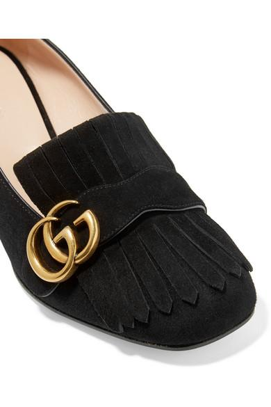Gucci Fringed Logo-Embellished Suede Pumps In 1000 Nero