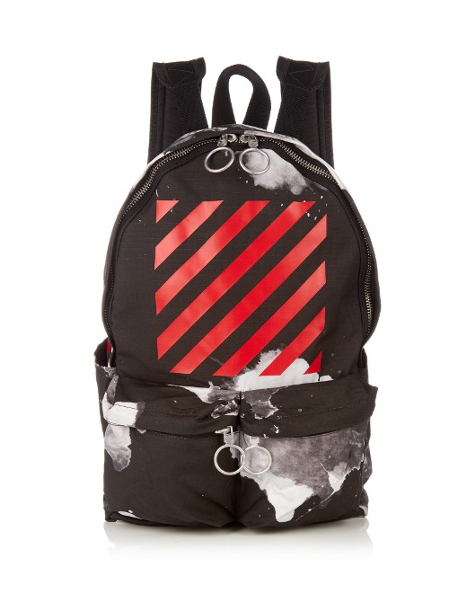 Off-White Brushed Stripes Cotton Canvas Backpack ab63354970fa4