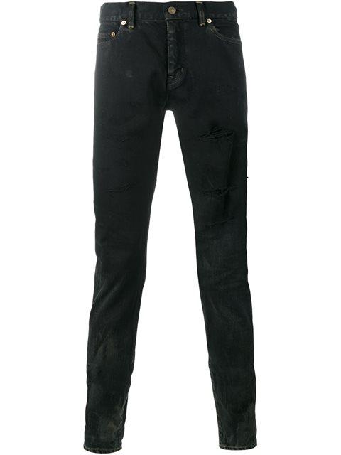 44cb507675 Embroidered Low Waisted Slim Jean In Worn Black Stretch Denim