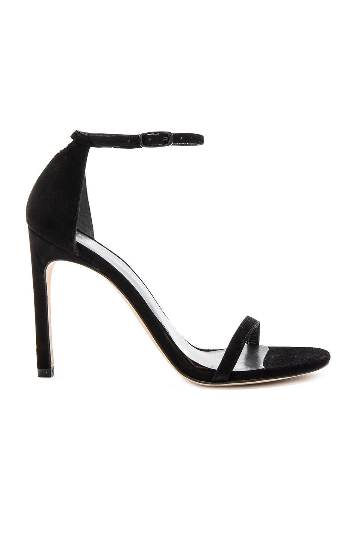 Stuart Weitzman 'nudistsong' Ankle Strap Suede Sandals In Black Suede