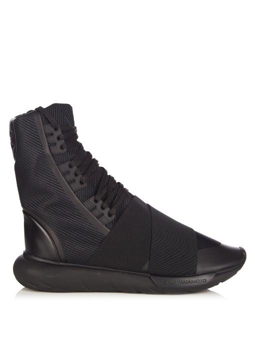 eb186aeef9e Y-3 Qasa Boot Neoprene And Canvas High-Top Trainers In Black Fabric ...