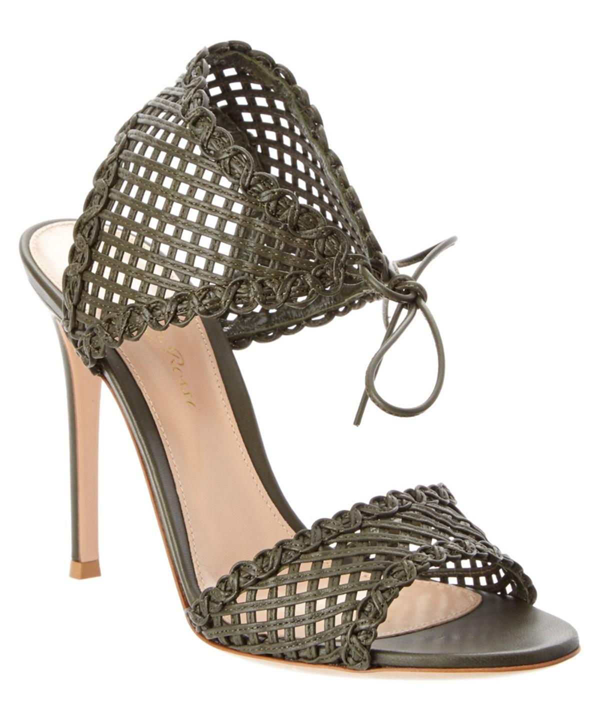 ecce16ed0 Gianvito Rossi Woven Leather Ankle Tie Sandal  In Olive