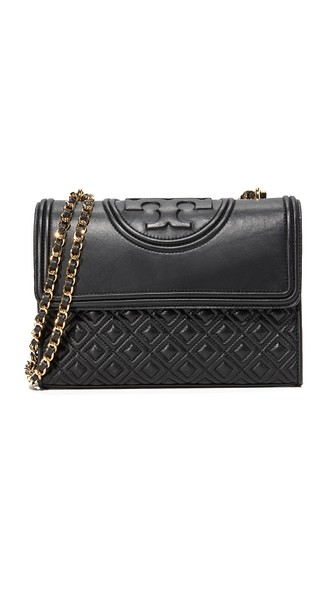 9324d28e4a4 Tory Burch Fleming Black Leather Small Convertible Shoulder Bag ...
