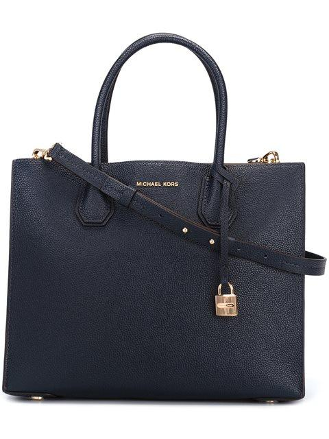 567f7a5aeafd Michael Michael Kors Mercer Large Grained Leather Tote In Blue. Farfetch