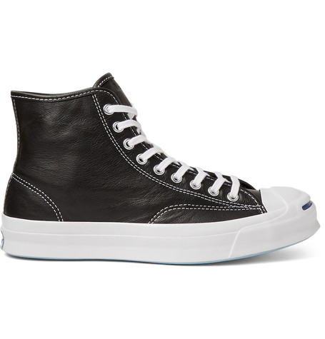 Converse Jack Purcell Signature Leather High-top Sneakers In Black Canvas