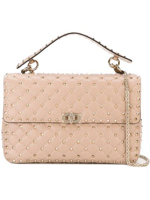abb6a4488c9c Valentino The Rockstud Medium MatelassÉ Leather Shoulder Bag In Neutrals