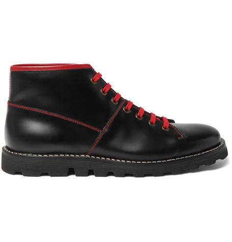 36665784e207 Prada Contrast-Stitched Spazzolato Leather Boots | ModeSens