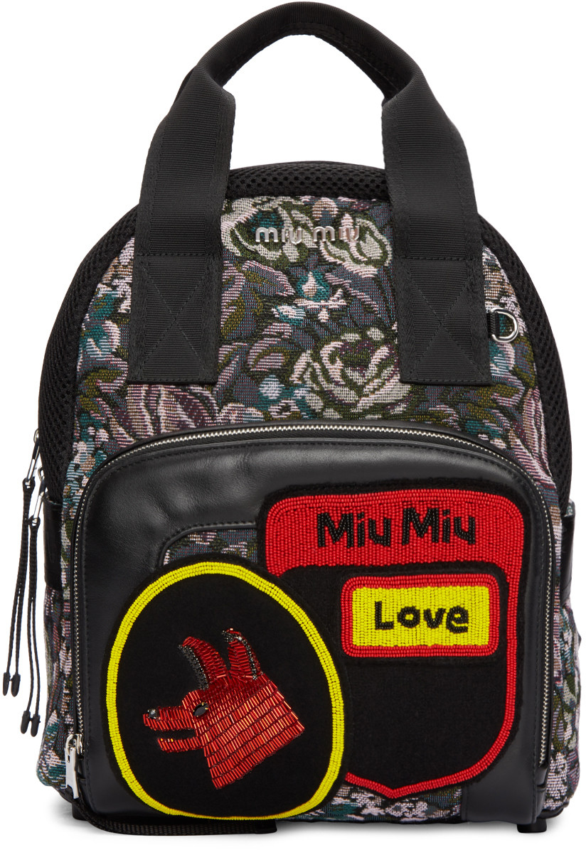d8e2d27436 Miu Miu Floral Tapestry   Embellished Leather Backpack In Viola Dis Rosa