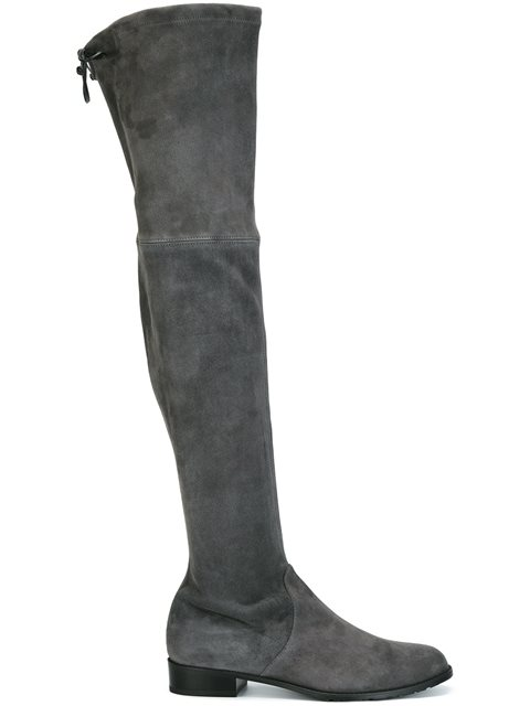 Stuart Weitzman Lowland Over-The-Knee Suede Boots In Slate