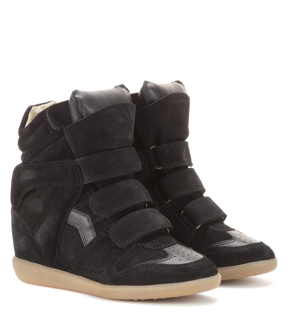 be932bb333c Isabel Marant Bekett Leather-Trimmed Suede Wedge Sneakers In 01Bk Black