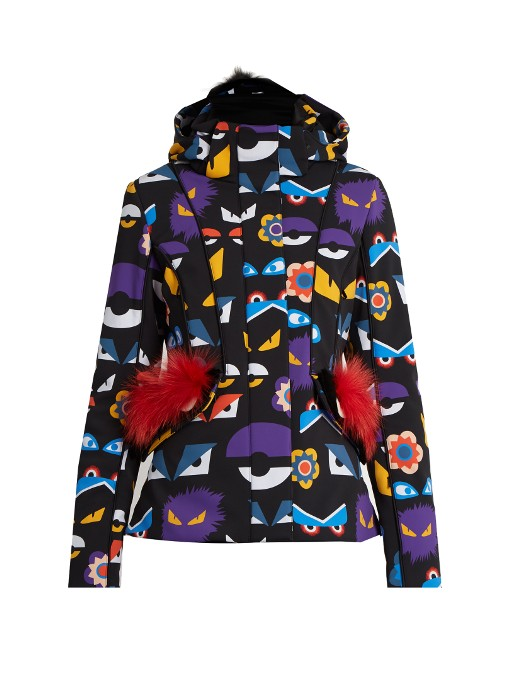 Fendi Wonders Eye-Print Fur-Trim Ski Jacket In Colour   db5f731ab