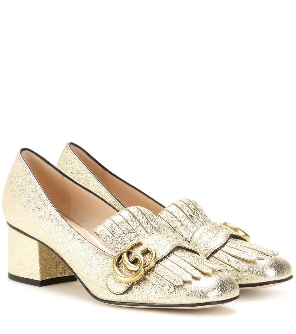 04e50be7c44 Gucci Women's Marmont Metallic Mid-Heel Pumps | ModeSens
