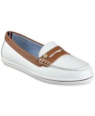 aa2aeb03a Tommy Hilfiger Women  039 S Butter Penny Loafers In White Multi Leather