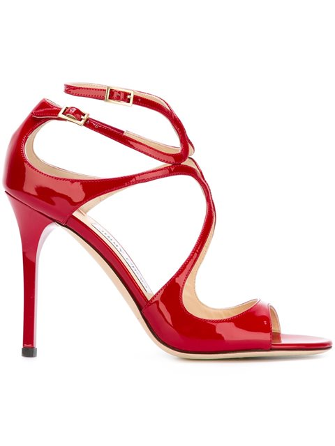 557fb0a7c98 Jimmy Choo Lance Red Patent Leather Strappy Sandals
