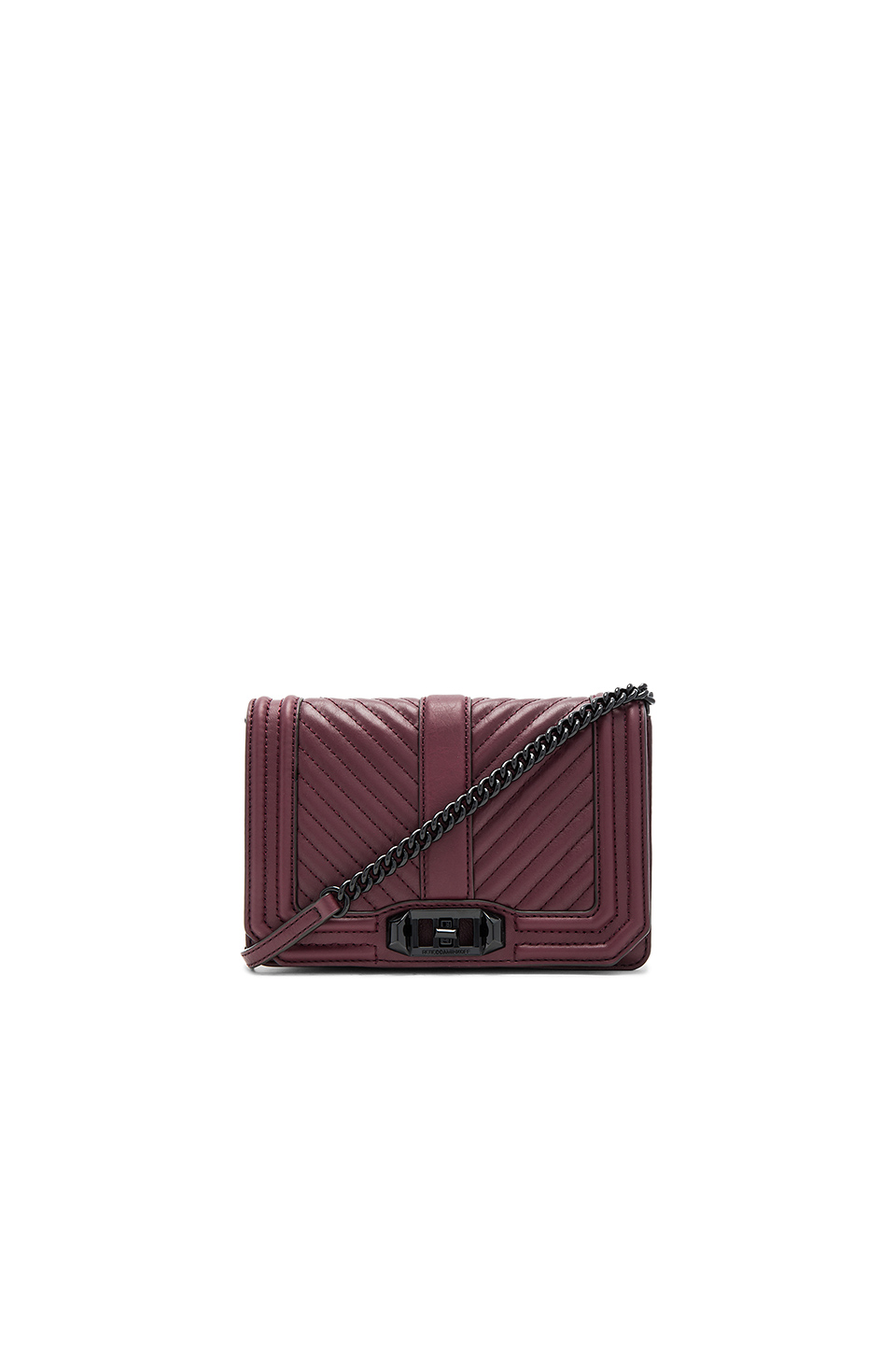 d7510d42dd15 Rebecca Minkoff Chevron Quilted Small Love Crossbody Bag In Burgundy. In  Dark Cherry