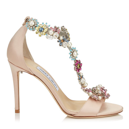 7e7ca481fe21d Jimmy Choo Reign 100 Dusty Rose Satin Sandals With Camellia Mix Anklet In  Dusty Rose