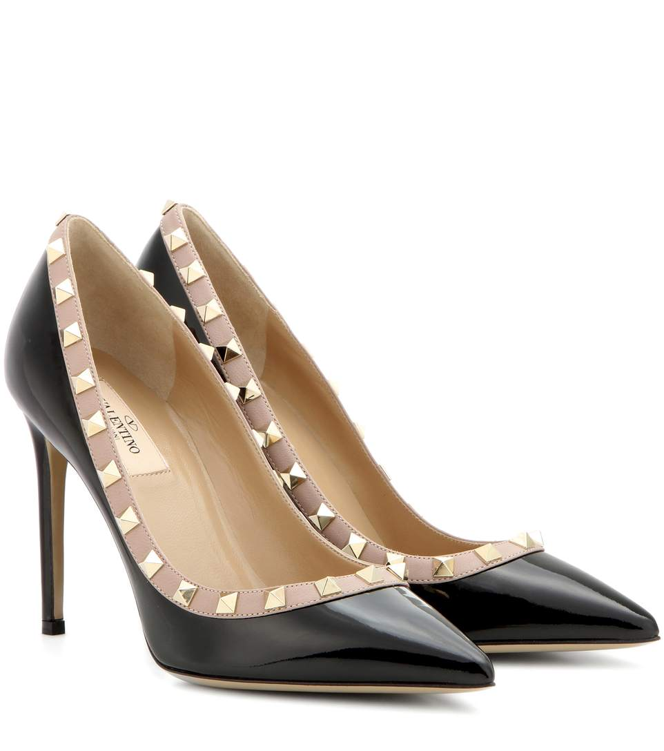 a5f9229479b Valentino Rockstud 85 Patent-Leather Courts In Black
