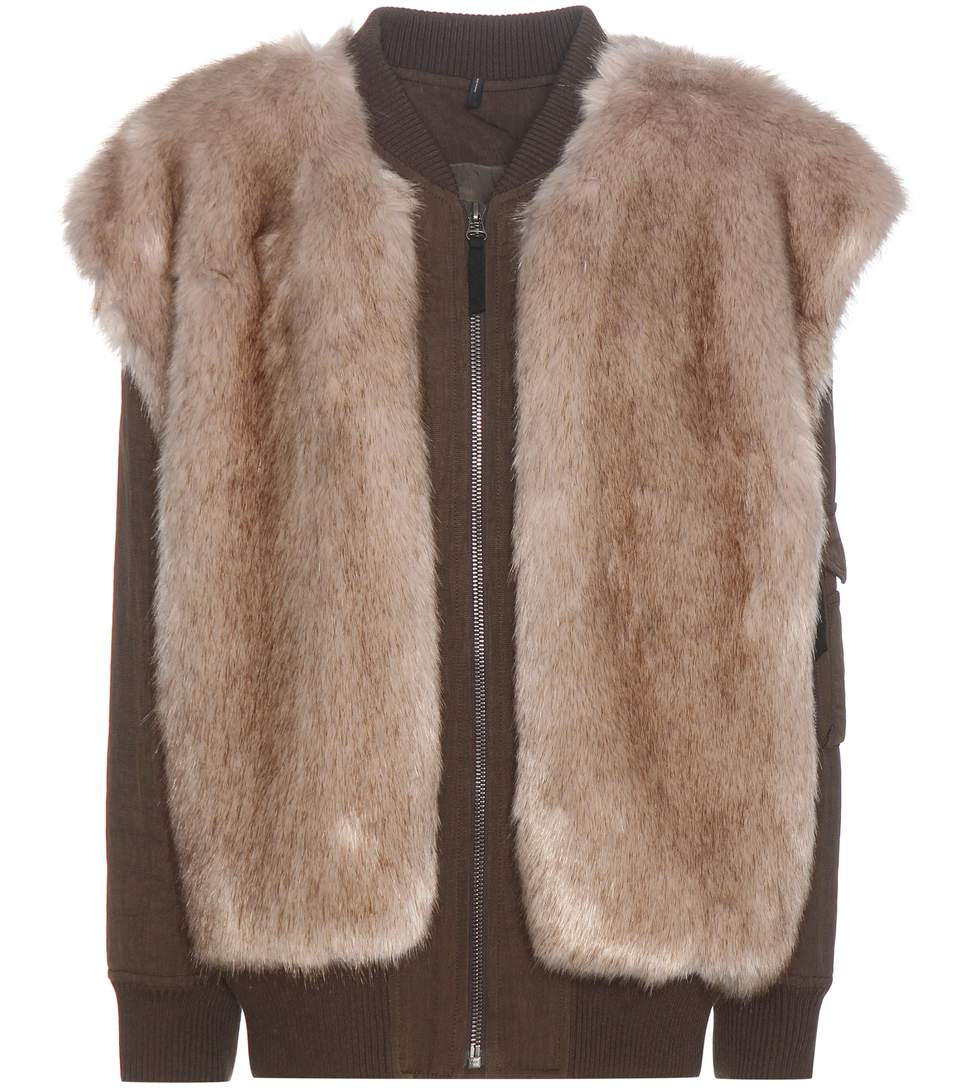 Helmut Lang Two-in-one Bomber Jacket & Faux Fur Vest In Olive