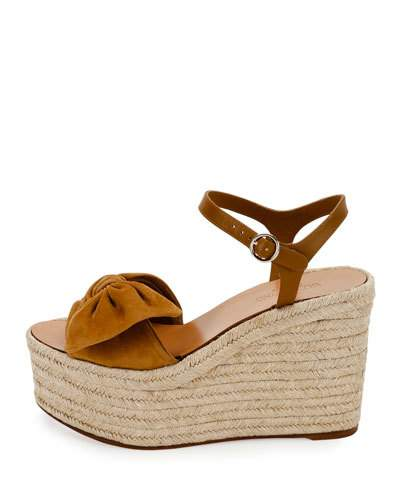 8fe4b2c8be3b Valentino Tropical Bow Suede Espadrille Wedge Platform Sandals In ...