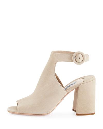 c2187262202 Prada Suede Block-Heel Ankle-Strap Sandal