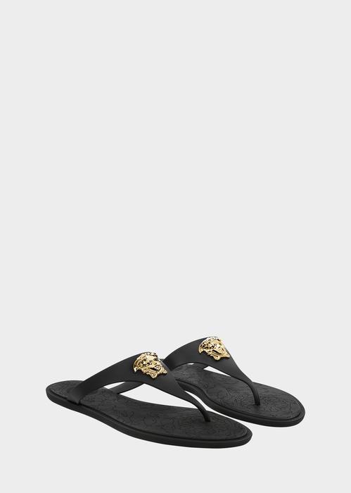 a5c0b33bc541 Versace Gold Medusa Flat Slide Thong Sandal In Black Gold