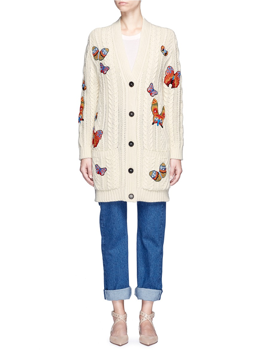 Valentino Butterfly Patches Cable Knit Cardigan 8f68343fc